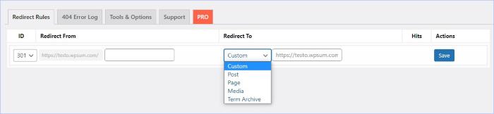 redirect option