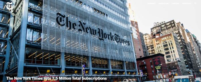 NY Times company website