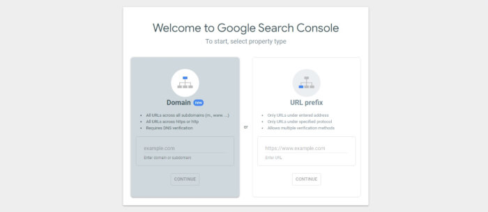 add website to search console